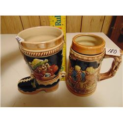 BEER STEIN & BOOT (CERAMIC COLLECTIBLES)