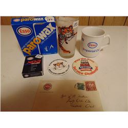 ESSO COLLECTIBLES BADGES *TIGER BY TAIL* GLASS CARDS ETC