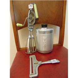 VINTAGE KITCHEN ITEMS (EGG BEATER, CHEESE CUTTER, TEA CANISTER TIN)