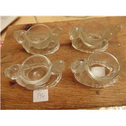 FOUR CLEAR GLASS (EASTER EGG) CUP CHICKENS