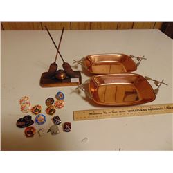 CURLING PINS, TROPHY & (SOLID COPPER) CURLING KNICK KNACK DISHES