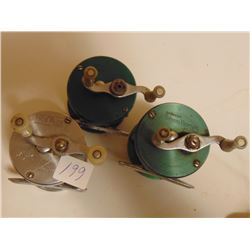 BRONSON GREEN HORNET & SHAKESPEARE TRUE BLUE 1956 FISHING REELS