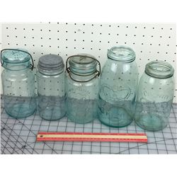 LOT OF 5 SEALER JARS BLUE ANTIQUE)