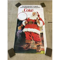 "HUGE 1981 UNUSED RETAIL POSTER (COCA-COLA CHRISTMAS SANTA) 65"" X 36"""