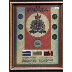 1973 COIN & STAMP PLAQUE (THE YEAR CANADA SALUTED THE RCMP)