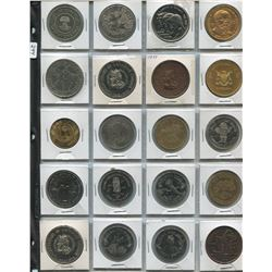 1 SHEET OF TOKENS (CITY OF YORKTON, CALGARY STAMPEDE 1975, ETC.)