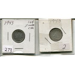 1943 CNDN 10 CENT PC (SILVER) & 1950 CNDN 10 CENT PC (SILVER)