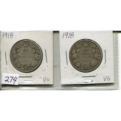 LOT OF 2 1918 CNDN 50 CENT PCS (SILVER)