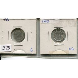 LOT OF 2 - *SILVER* CNDN 5 CENT PCS (1901, 1902)