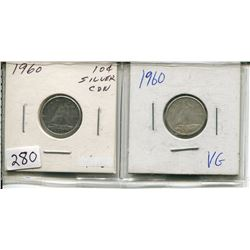 LOT OF 2 - 1960 CNDN 10 CENT PCS (SILVER)