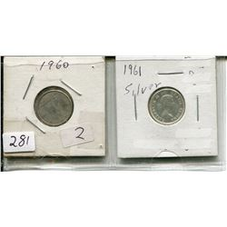 1960 CNDN 10 CENT PC (SILVER) & 1961 CNDN 10 CENT PC (SILVER)