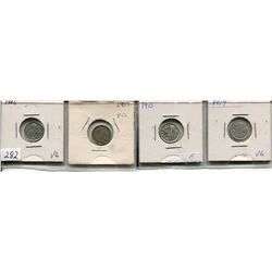 LOT OF 4 - *SILVER* CNDN 5 CENT PCS (1906, 1917, 1913, 1914)