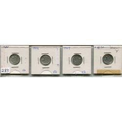 LOT OF 4 - *SILVER* CNDN 5 CENT PCS (1905, 1906, 1907, 1874)