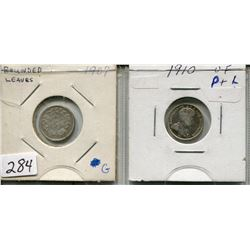 LOT OF2 - *SILVER* CNDN 5 CENT PCS (1909, 1910)