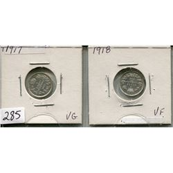 LOT OF 2 - *SILVER* CNDN 5 CENT PCS (1917, 1918)