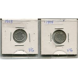 LOT OF 2 - *SILVER* CNDN 5 CENT PCS (1903, 1904)