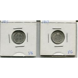 LOT OF 2 - *SILVER* CNDN 5 CENT PCS (1911, 1912)