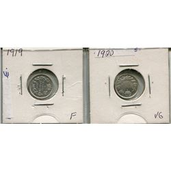 LOT OF 2 - *SILVER* CNDN 5 CENT PCS (1919, 1920)