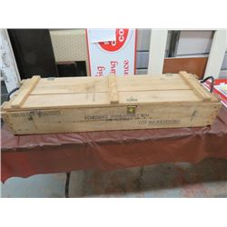 """AMMUNITION CRATE (WOODEN, MILITARY) """"FOR M68 -  2 CARTRIDGE 105 MM"""" *47"""" X 14½"""" X 8½""""*"""