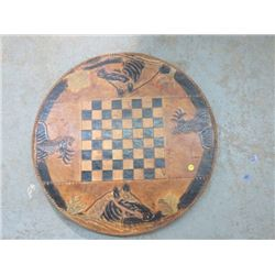 CHECKER GAME (TOOLED LEATHER) *TABLE TOP*