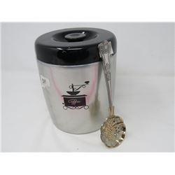 RETRO METAL COFFEE CANISTER & ORNATE SERVING SHELL