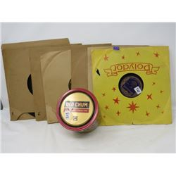 6 OLD *78 RPM* RECORDS & (OLD CHUM) PIPE TOBACCO TIN