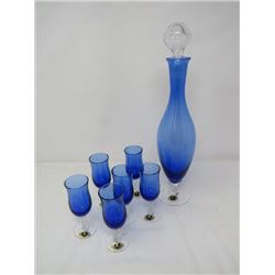 BLUE CRYSTAL DECANTER (FOOTED, W/STOPPER) & 6 STEM GLASSES (FROM ITALY)