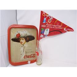 LOT OF 3 COCA COLA COLLECTIBLES  - TRAY (VINTAGE), PENNANT & BOTTLE (10 OZ. TALL)