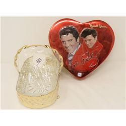 GLASS SERVING DISH (IN METAL HOLDER) & RUSSEL STOVER HEART SHAPED TIN (W/ELVIS PRESLEY MOTIF)