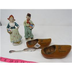 LOT OF 3 - DUTCH FIGURINES (HAND PAINTED, LADY REP.), PAIR OF DUTCH SHOES & BUTTER KNIFE (SILVER)