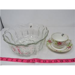 LOT OF 3 - GLASS FRUIT SERVING BOWL (LARGE), TEACUP *SMALL CRACK* & SAUCER (BY PHOENIX IN ENGLAND)