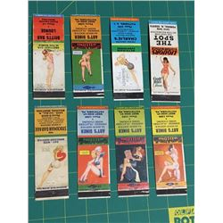 LOT OF 8 PIN UP GIRL ADVERTISING MATCH BOOK COVERS *VINTAGE*