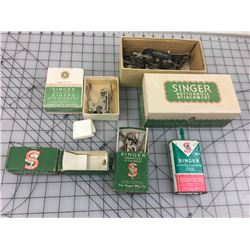 LOT OF SEWING MACHINE ATTACHMENTS (SINGER) & OIL CAN