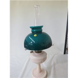 "LANTERN (GLASS, CREAM COLOR BASE, GREEN SHADE) 25"" TALL"