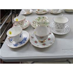 5 CUPS/SAUCERS (PARAGON, ROYAL WINDSOR, ETC.) *NO CHIPS/CRACKS*