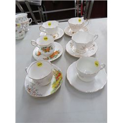 6 CUPS/SAUCERS (QUEEN ANNE, ELIZABETHAN, ETC.) *NO CHIPS/CRACKS*