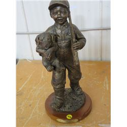 "STATUE (BOY WITH DOG) *DUCKS UNLIMITED, YOUNG PUPS* (339/800, 16""T)"
