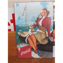 "COCA COLA SIGN (LADY OF BOAT) *WOODEN, 24""X36""*"