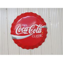 """COKE BUTTON (TIN, EMBOSSED LETTERS) 27""""  *N.O.S.*"""