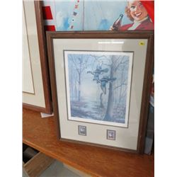 """FRAMED PRINT (W/2 DUCKS UNLIMITED STAMPS ), BY MAASS (CONSERVATION ISSUE) *20""""X25*"""
