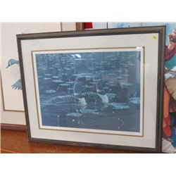 """FRAMED PRINT (MORNING GLIDE, COMMON LOONS), BY C.D. HIEBERT, 1986 *32""""X29* (95/600)"""