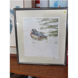 FRAMED PRINT (DUCKS UNLIMITED, PROMISED ONE, WOOD DOCK ) BY C.E. BACON, 1989 *382/5700*