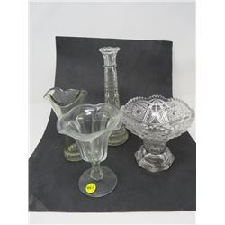 4 FLUTED & PRESSED GLASS VASES *1 CHIPPED, 1 COLORED & CHIPPED*