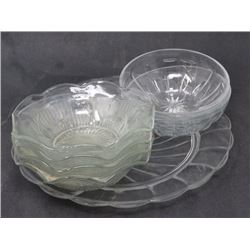 CLEAR GLASS WARE (PLATE, 6 FRUIT NAPPIES) *4 ARE IRIS HERRINGTON*