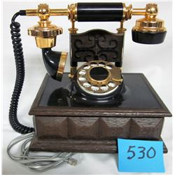 ROTARY DIAL TELEPHONE (ORNATE FRENCH DECO STYLE) *BLACK/BROWN*