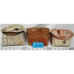 BASKETS & LIDS (NATIVE HAND CRAFTED BIRCH BARK) *QTY 3*