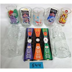 ASSORTED GLASSES 7 MUGS (MCDONALDS) & 3 1998 WATHCES (NEW OLYMPIC)