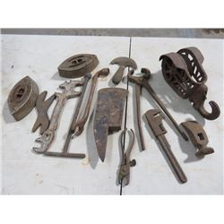 LOT OF TOOLS IN PAIL (HAMMERS, AXES, TOOLS, WRENCHES)