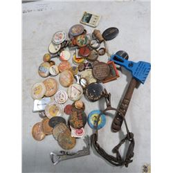 LOT OF NAME BUTTONS, OLD HORSE SPURS, SPIKOT, STOVE HANDLE