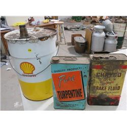 LOT OF 3 SHELL OIL *5 GAL* (CHRYCO BRAKE FLUID, PURE TURPENTINE)